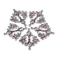 20pcs Tibetan Alloy Filigree Rhombus Chandeliers 1/7 Loop Connectors Silver 36mm