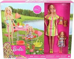 Barbie GNC61 Puppy Picnic Playset with 2 dolls, 2 puppies and 25 accessories