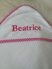 """Pottery Barn Kids Gingham Nursery Hooded Towel Embroidered """"Beatrice"""""""