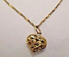 "14K GOLD HEART NECKLACE DIAMOND CUT OPEN PUFFED FINE BRAIDED TWIST CHAIN 18"""