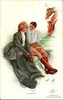 "Vtg Postcard 1912 Artist Signed Harrison Fisher ""In Clover"""