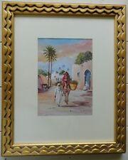 HAKIM NATTAH Libyan Artist Listed Orientalist Watercolor Painting View 2004