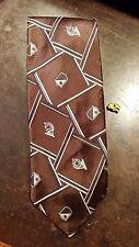 Vintage Damon Brown White Stripe French Horn Novelty Wide Designer Men Neck Tie