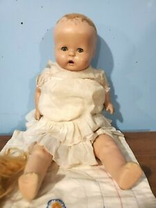 TOY: DOLL, baby, HARD PLASTIC HEAD/LIMBS/LEGS,MOVABLE eyes, cloth body, hair VTG