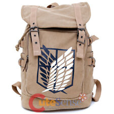 """Attack on Titan Backpack Scouting Legion Large Bag Cotton Canvas 16"""" Anime Bag"""