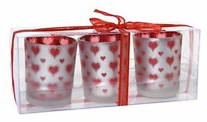 Red Heart Glass Votive Tealight Candle Holders - Set of 3,La Vida