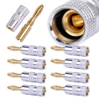 8x Gold Plated Adapter Banana Plug Fit for Audio Adapter Converter Connector