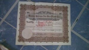 Hunter Giderain Air Sea Plane Company 1928 Stock Certificate 1 share
