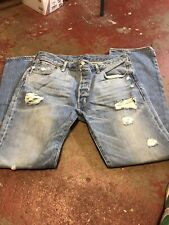 Levis 501 Holes Stains Distressed Jeans Denim Button Fly 36x32