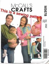 MCCALL'S SEWING PATTERN 5678 BABY S-M-L SHOULDER CARRIER/SLING & BACKPACK STYLE
