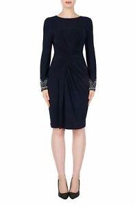 Joseph Ribkoff Midnight Blue Ruched Embellished Sleeves Sheath Dress 191017 NEW