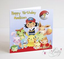Personalised POKEMON Birthday Card - Son Brother Sister Daughter PIKACHU