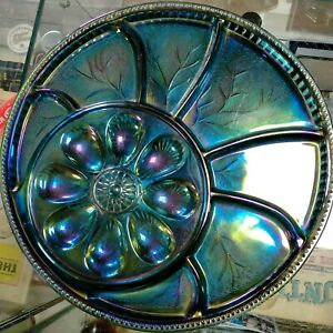 Indiana Glass Co. USA Glass Deviled Egg Hors D'oeuvre Serving Plate Carnival