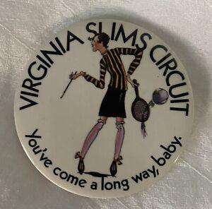 Vintage Button Pin Virginia Slims Womens Tennis Circuit Tour Billie Jean King
