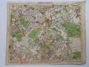 "LONDON MORDEN MITCHAM CARSHALTON VINTAGE MAP BY GEORGE PHILIP DATE 194810x8"""