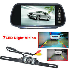 "7""LCD Monitor/Mirror Car Rear View Reverse Backup Parking Camera Night Vision HD"