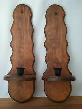 Wooden Candle Sconces Set of 2 Vintage Wall Hanging With Scalloped Edges 19""
