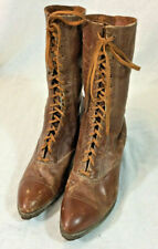 Women's Vintage Victorian Brown Leather Granny Boots