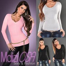 Maglione Donna Sweater Misto Cachemire scollo V Maglioncino Pull Over Moda