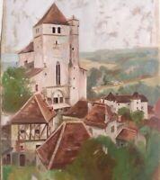 Saint-Cirq-Lapopie dans le Lot Gouache Originale XXe signée