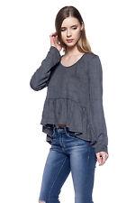 Buckle New Womens Gray Casual Hi Lo Long Sleeve Fashion Crop Top Tee T-Shirt L