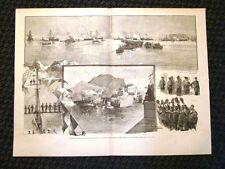 Rara stampa del 1891 Esposizione d'arte di Palermo Rivista Navale Re nella rada