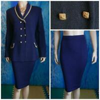 St. John Collection Navy Blue Jacket Skirt L 12 10 2pc Suit Metallic Gold Trims