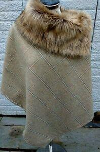 FAUX FUR Tweed poncho cape