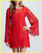 NWT ALEXIS KATARINA STASSI RED SHEER LACE BELL-SLEEVE TUNIC DRESS COVER-UP M