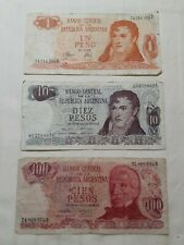 3 PC. ☆ MIXED 1969 ARGENTINA BANKNOTES (CIRCULATED).
