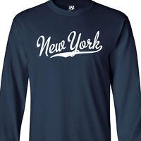 New York Script LONG SLEEVE T-Shirt - N.Y. Baseball Sports - All Sizes & Colors