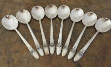 IS First Love Set of 8 Round Soup Spoons 1847 Rogers Silverplate Flatware Lot M