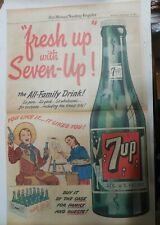 7-Up Ad: Fresh Up With Seven-Up! Family Drink ! from 1940's  15 x 22 inches