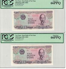 VIETNAM Lot of 2 CONSECUTIVE 2000 DONG 1988 PICK# 107a  PCGS-66 PPQ (#1189)