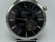 Bulova 96A234 Regatta Slim Automatic Movement Black Dial Leather Strap Watch