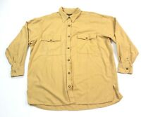 Vintage 80s 90s Funky 100% Silk Express Jeans Men's L/S Shirt Large Yellow