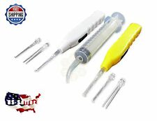 2 Tonsil & Ear Stone Remover Tools w/LED Light + 6 Adapters & Irrigation Syringe
