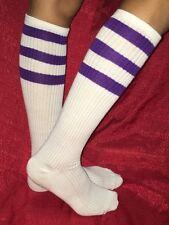 Old School Tube Socks Under KNEE HIGH PURPLE/WHITE Striped Pattern Women's 9-11