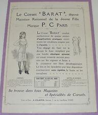 B1130/ CORSET BARAT P.C PARIS PUBLICITE ANCIENNE 1911 AUTHENTIQUE REVUE D'ÉPOQUE