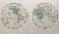 1838 Antique Map; New and Old World or Western and Eastern Hemispheres