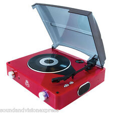 GPO Stylo Red Portable Vinyl Record Player Turntable Deck + Built In Speakers