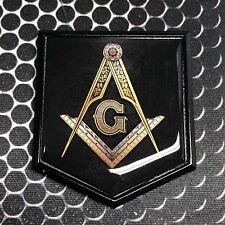 "Mason Masonic FREEMASON Domed BLACK Emblem Black Car 3D Sticker 2""x 2.25"""