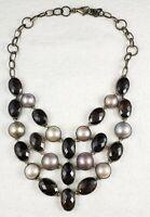 Stunning Vintage Sterling Silver with Quartz & Pearls Necklace - AF Design