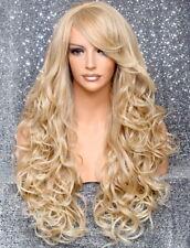 Long Human hair blend Full Wig Heat OK Curly Blonde Mix 27-613 NWT WBT
