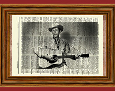 Hank Williams Sr Dictionary Art Print Poster Picture Vintage Book Guitar Senior
