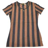 Authentic Fendi Cotton Striped T Shirt Tops Brown Black Italy Women Ladies #42