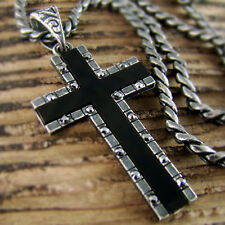 1.57inch Mens Retro Hiphop Black Zirconia Cross Onyx Pendant Necklace 24RTB