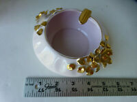 vintage Lefton pink ash tray with gold trim and flowers 40424