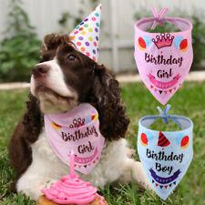Pet Dog Bandana Medium Large Dog Birthday Collar Girl/Boy Small Scarf Blue Pink