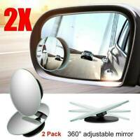 2X Car Blind Spot Mirror Adjustable Wide Angle 360 Rotation Convex Rear View